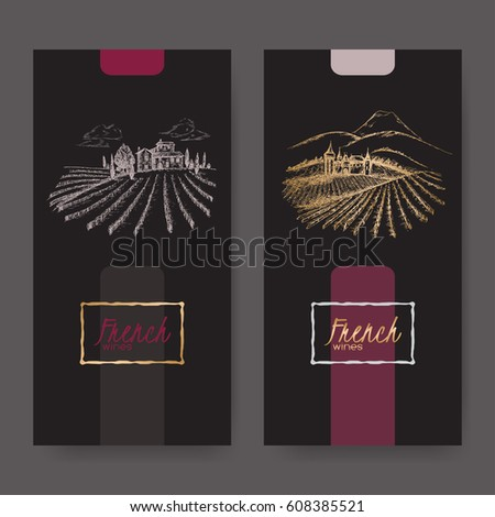 set of two french wine labels