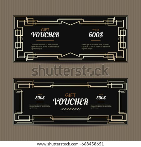 stock-vector-set-of-two-gift-vouchers-in-art-deco-style-gift-card-template-coupon-discount-collection-golden