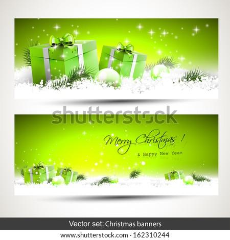 set of two green horizontal