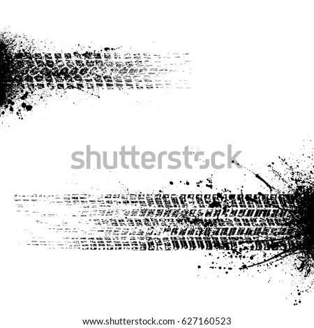 Set of two grunge black tire track silhouettes