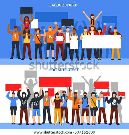 Set of two horizontal protesting crowd banners with young rioters holding empty placards of different size vector illustration