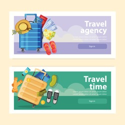 Set of two horizontal suitcase banners with sign in buttons text and flat tourists belongings images vector illustration
