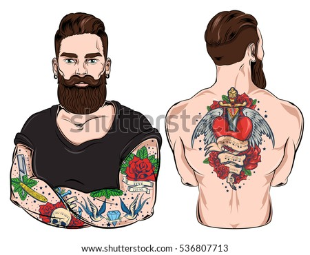 set of two images of tattooed