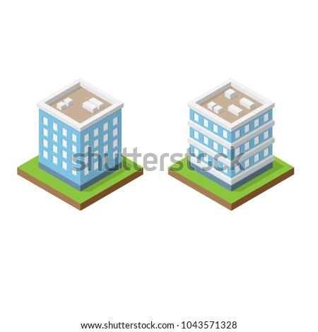 set of two isometric blue