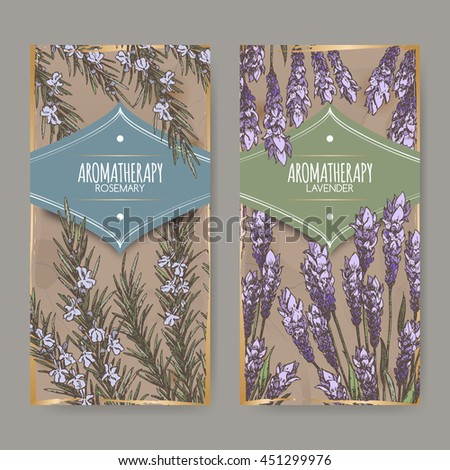 set of two labels with lavender