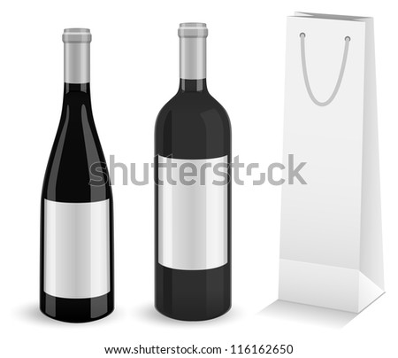 Set of two mock-up wine bottles and bottle gift bag. All objects and details are isolated and grouped. Transparent background color is easy to customize