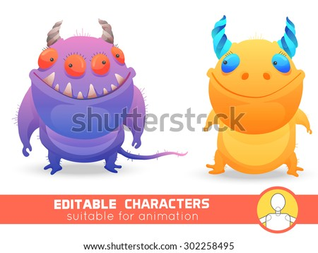 set  of two monsters with horns