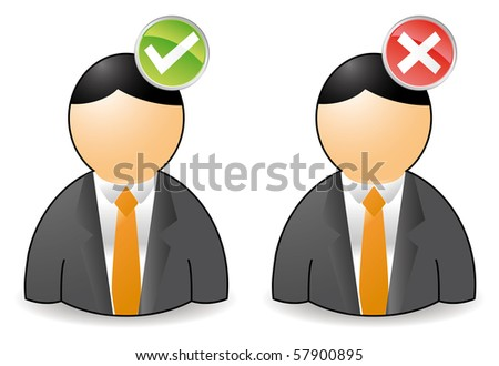 set of two persons with ok or not ok buttons