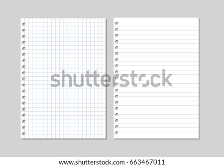 Set of two realistic vector illustration of blank sheets of square and lined paper from a block isolated on a gray background with shadows