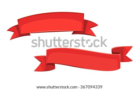 Set of two red cartoon banners, cartoon vector illustration.