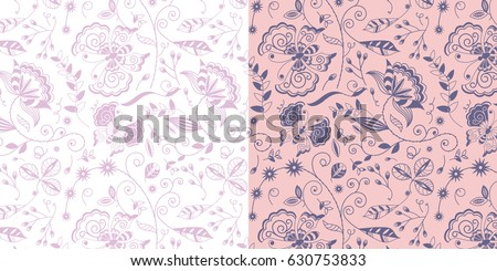 set of two repeating floral