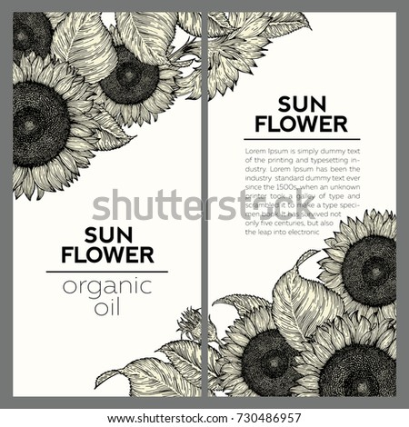 set of two sunflower retro