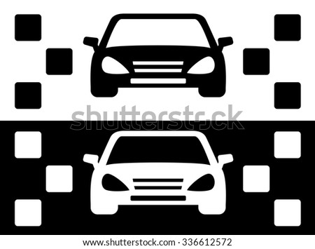 set of two taxi cars simple icon