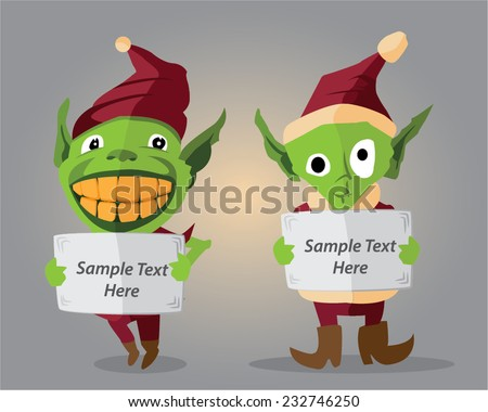 set of two vector elves one