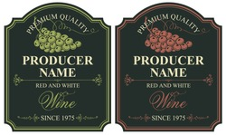 Set of two vector labels for red and white wine with bunches of grapes and calligraphic inscriptions in retro style on the black background.
