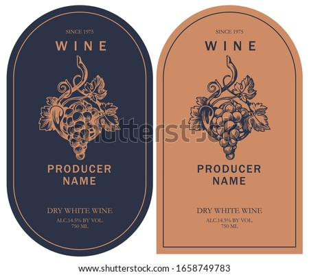 set of two vector wine labels