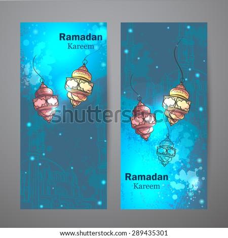 Set of two vertical banners for Ramadan Kareem. Lamps for Ramadan #289435301