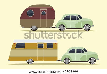 set of two vintage camping cars, retro style