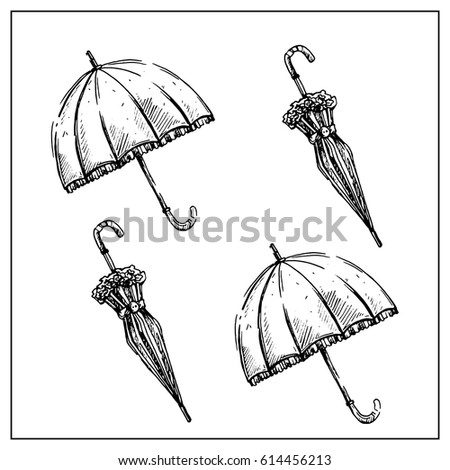 set of two vintage umbrellas