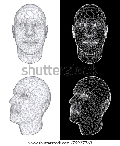 Set of Two Wireframe Views of a Human Head at the Different Angles on White and Black Background. Vector Illustration