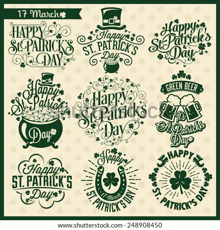 Set of Typographic Design Badges for Saint Patrick's Day