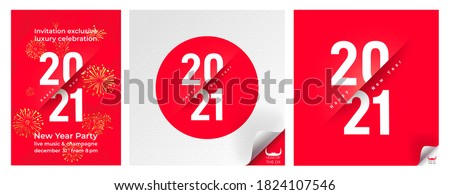 Set of typography text 2021 font and rat. Logo in a circle on a red background. Creative design for greeting lettering. New Year of the ox symbol 2021, flyers posters and calendar. Vector illustration