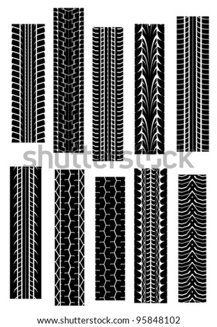 Set of tyre shapes isolated on white background for transportation design. Jpeg version also available in gallery.