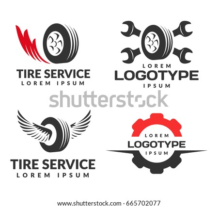 Set of Tyre Shop Logo Design. Wheel repair service. Tire storage company sign. Tire logo.Wheel icon. Car repair service, Auto,  Burning tires logo. Tools icon.