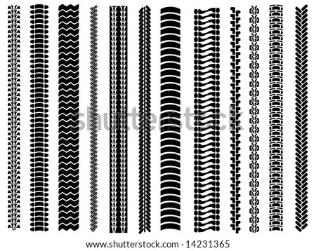 Set of 12 tyre tracks