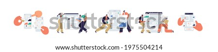Set of UI and UX designers creating functional web interface design for websites and mobile apps. Digital wireframing process concept. Colored flat vector illustration isolated on white background Photo stock ©