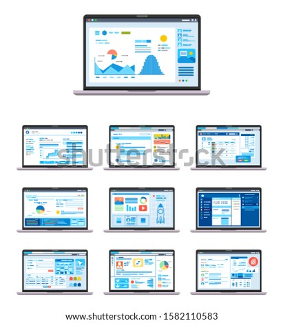 set of UI, UX, GUI Graphic User Interface and User Interface design in Laptop for website or apps vector illustration. web design UI kit.