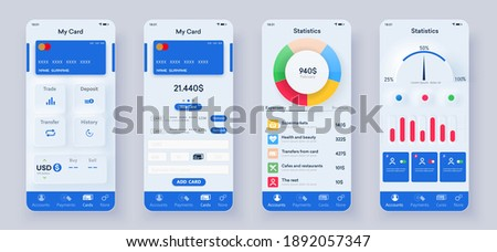 Set of UI, UX, GUI screens Banking app flat design template for mobile apps. Unique neumorphic ui ux design kit. Responsive website wireframes. Checking accounts and transaction confirmation. Mockup