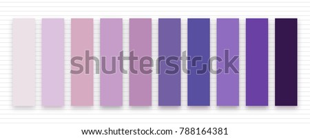 Set of ultra violet and lavender swatches. Color of the year 2018 for fashion industry. Vector colors palette on striped background. Inspirational swatches for seasonal backgrounds, projects.