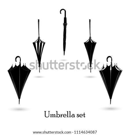 Set of  umbrella canes.  Accessory templates.