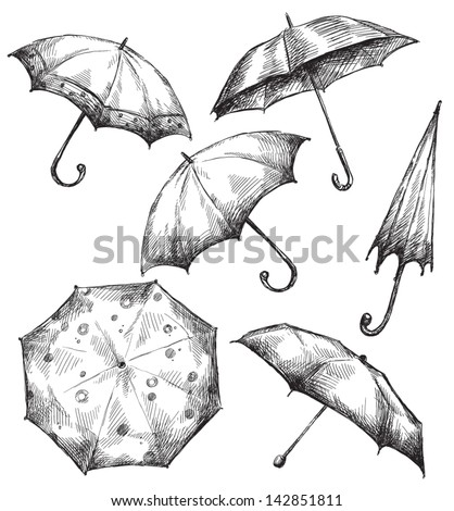 set of umbrella drawings  hand...