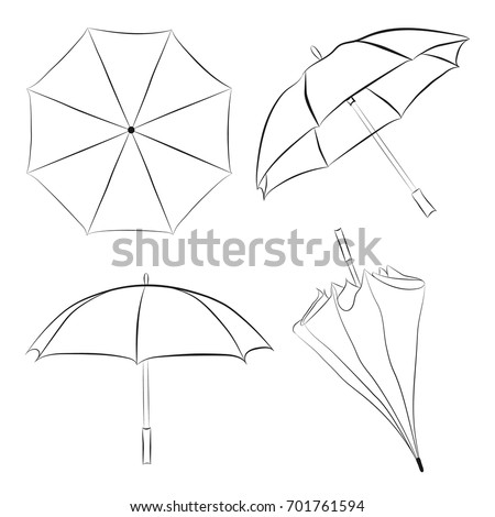 Set of umbrellas sketches. Doodle style umbrellas vector illustrations. Vector umbrellas isolated on white background. Hand-drawn umbrella with a view from different sides.