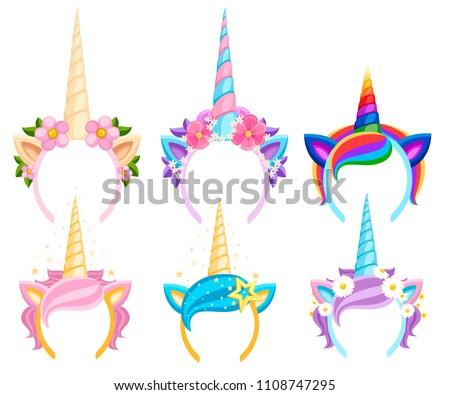 set of unicorn tiaras with
