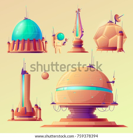 Set of unidentified space objects, UFO, space ships of extraterrestrial alien invaders, space research stations, vector cartoon illustrations. Elements for game design.