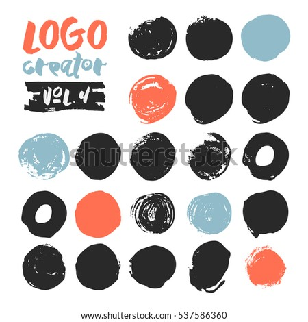 Set of 21 unique ink sketched shapes for logotype, brand style, badge or emblem. Handdrawn textured vector elements with rough edges isolated on white background. Logo creator collection.
