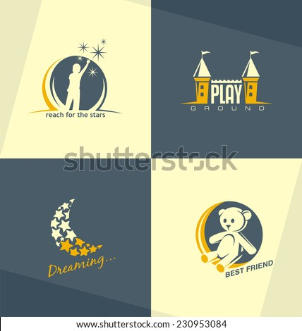 Set of unique vector symbols and logo design concept for preschool education or kids playground and kindergarten. Childhood related minimalistic illustrations collection.