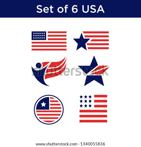 set of united states flag usa american symbol wavy shape