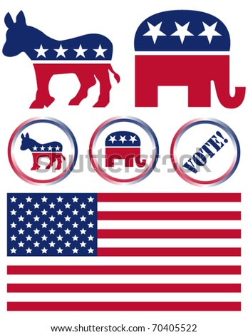 Set of United States Political Party Symbols