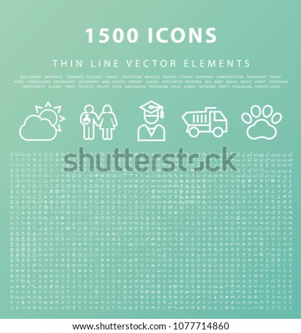 Set of 1500 Universal and Standard High Quality White Icons on Color Background ( Isolated Elements )