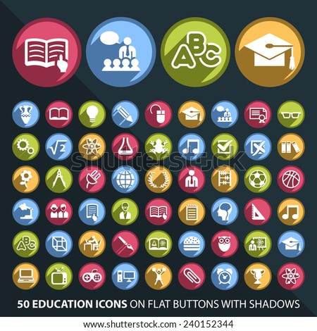 Set of 50 Universal and Standard White Education Icons on Flat Circular Colored Buttons with Shadows on Black Background ( isolated elements )