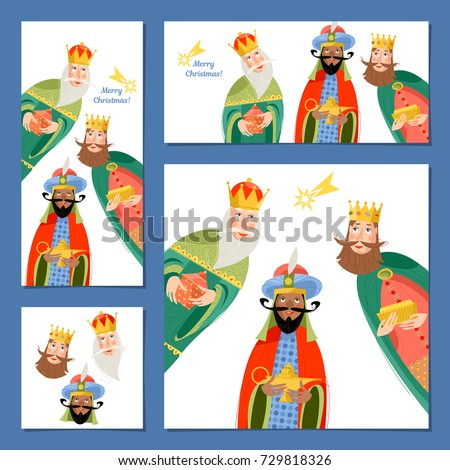 Set of 4 universal Christmas greeting cards with three biblical Kings: Caspar, Melchior and Balthazar.  Three wise men. Template. Vector illustration.