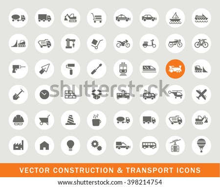 Set of 48 Universal Construction and Transport Icons. Isolated Elements.
