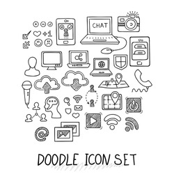 Set of Universal Doodle Icons. Variety of Topics. Computers, Communications, Clouds, Social Networks.