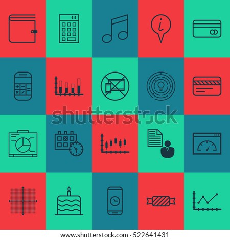 Set Of 20 Universal Editable Icons. Can Be Used For Web, Mobile And App Design. Includes Elements Such As Sweet, Stock Market, Investment And More.