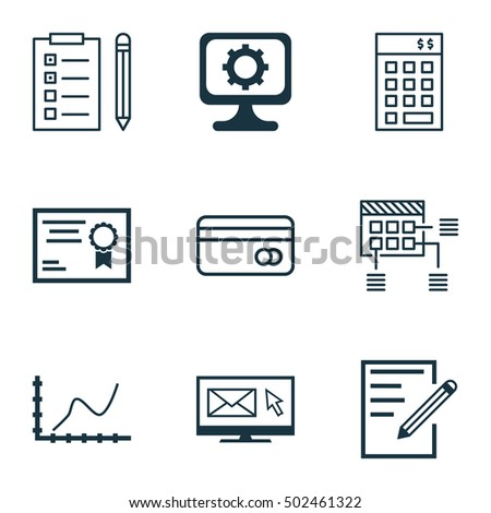 Set Of 9 Universal Editable Icons. Can Be Used For Web, Mobile And App Design. Includes Icons Such As Reminder, Achievement Graph, Schedule And More.