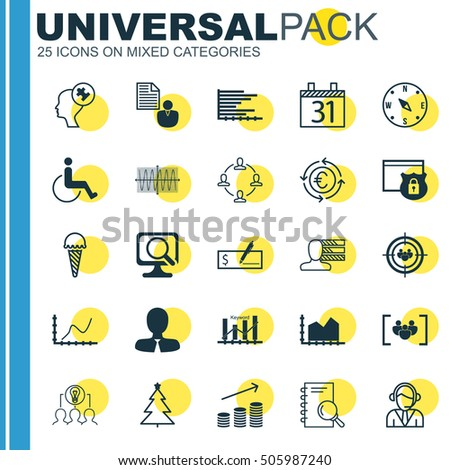 Set Of 25 Universal Editable Icons. Can Be Used For Web, Mobile And App Design. Includes Icons Such As Collaborative Solution, Focus Group, Questionnaire And More.